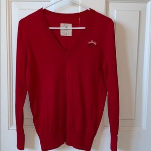 Red Vneck cotton Hollister sweater